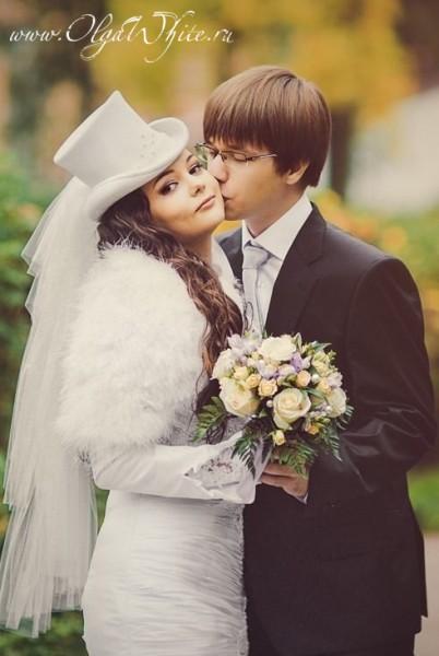 Свадебный белый цилиндр с фатой (купить, заказать)