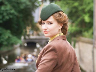 Зеленая шляпка пилотка на клиентке из Самары