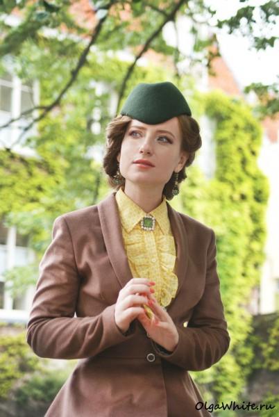 Шляпка пилотка фетровая зеленая. Купить в интернет-магазине СПб