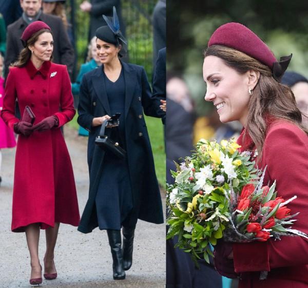 Шляпки Кейт Миддлтон и Меган Маркл на Рождество Бордовая и черная шляпки