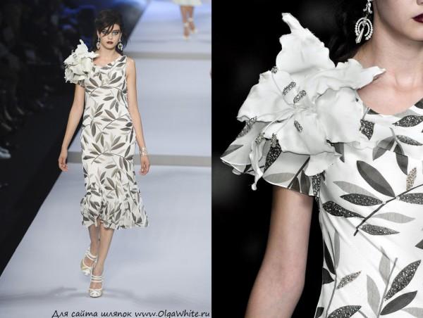 Большой белый свадебный цветок на платье - лилия на плечо