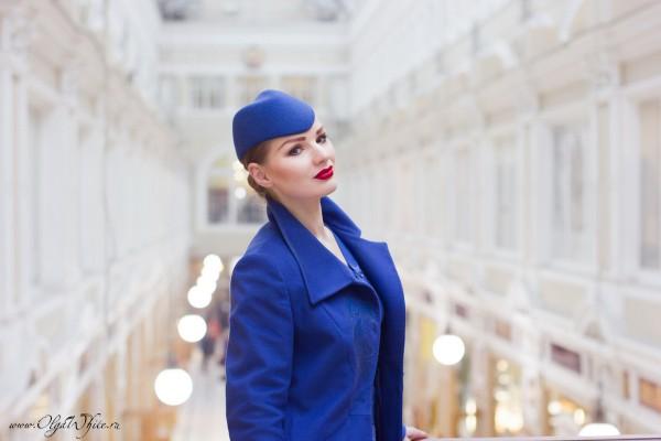 Синяя шляпка-пилотка-образ стюардессы аэрофлота