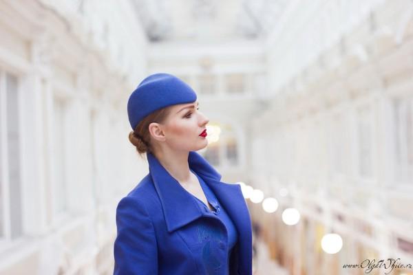 Синяя шляпка-пилотка на заказ-образ стюардессы аэролота