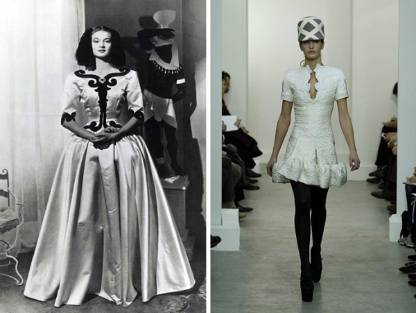 Balenciaga Dress Infanta ,1939 (слева); Balenciaga fw 2006-2007 (справа)