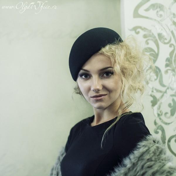 Черная женска шляпка-беретка. Купить модный берет в интернет-магазине шляп