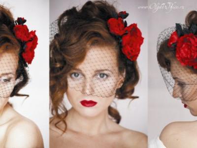 Красная вуалетка - цветы в прическу