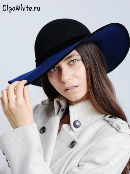 Широкополая шляпа женская синяя фетровая купить в интернет магазине