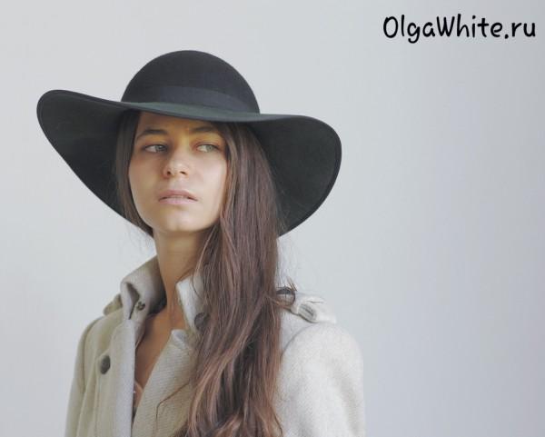 Широкополая шляпа женская зеленая фетровая купить в интернет магазине