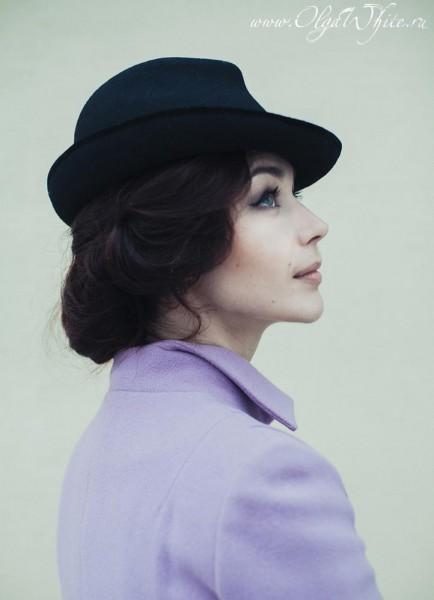 Классическая черная женская фетровая шляпка