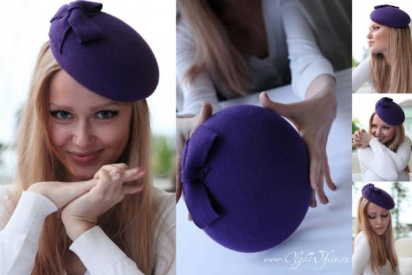 Фиолетовая шляпка берет французский