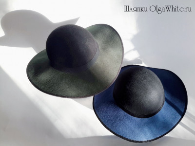 Широкополая шляпа фетровая женская синяя и зеленая Купить шляпу в интернет-магазине