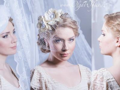 Свадебные вуалетки, свадебный берет и цветы в прическу