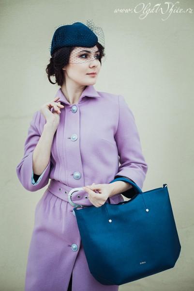 Темно-синяя шляпка-пилотка с вуалью на заказ в интернет-магазине