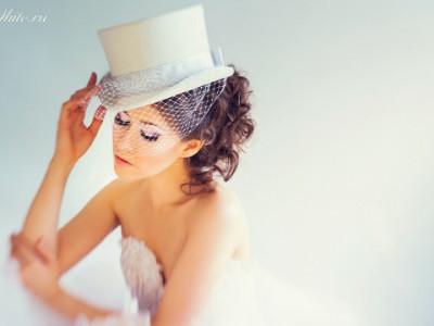 Свадебные шляпки с вуалью: белый свадебный женский цилиндр