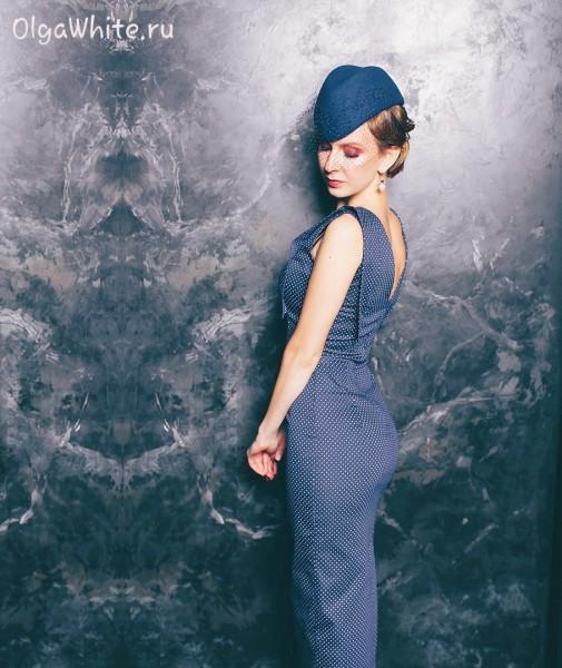 Женская пилотка фетровая купить Синяя шляпка с вуалью