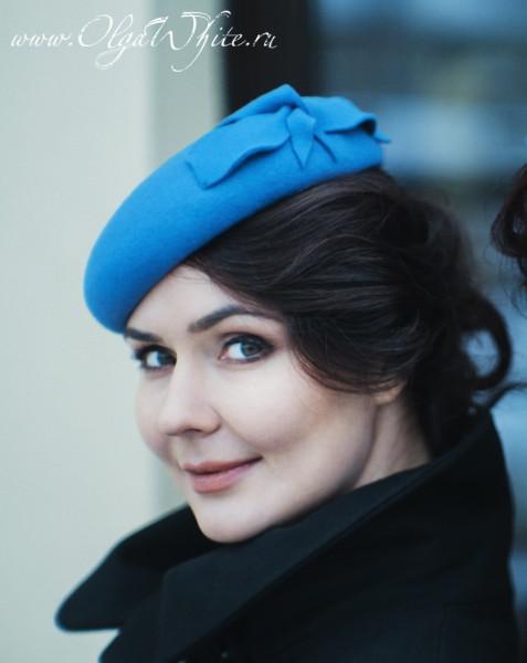 Женский берет фетровая шляпа синяя купить