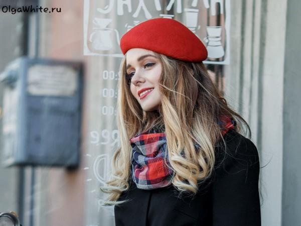 Красный женский модный берет купить шляпу