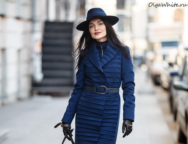 Синяя фетровая широкополая шляпа с прямыми полями. Купить в интернет-магазине шляп