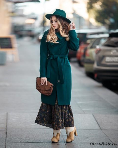 Зеленая шляпа. Широкополая зеленая фетровая шляпа, купить в СПб