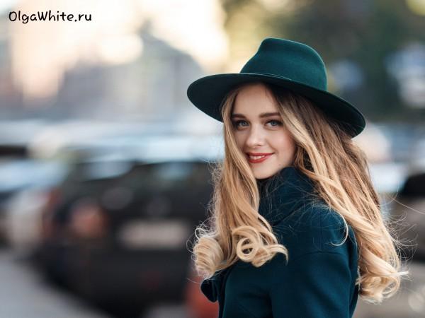Зеленая широкополая фетровая шляпа. Купить в интернет-магазине