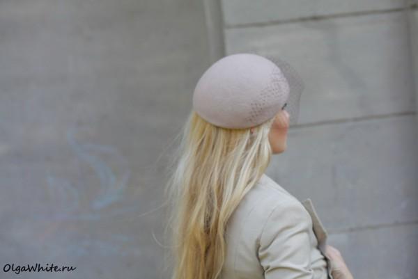 Бежевый берет шляпка с вуалью купить в интернет-магазине шляпок