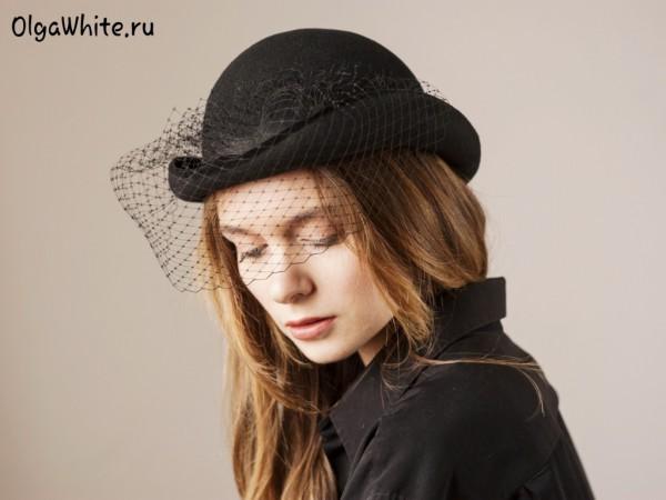 Черная шляпа котелок купить Женская шляпка с вуалью