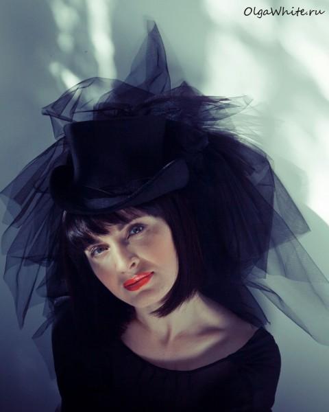 Черный цилиндр шляпа с фатой купить в интернет-магазине шляп