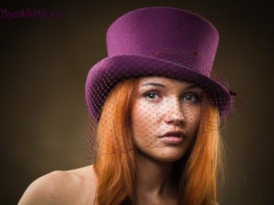 Цилиндр купить головной убор Женский фиолетовый цилиндр