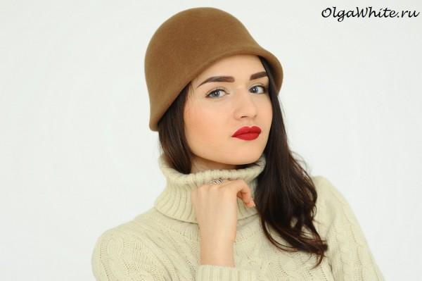 Фетровая шляпка клош купить бежевая коричневая