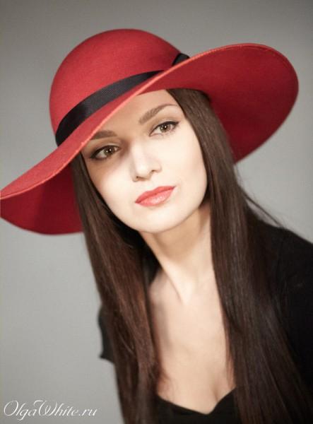Красная широкополая шляпа фетровая купить Спб