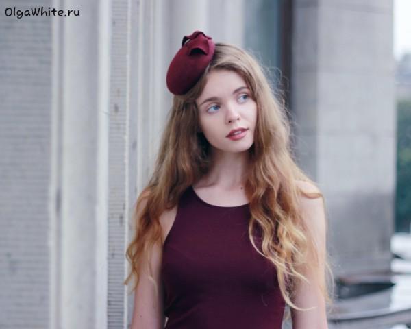 Маленькая шляпка купить Красная бордовая шляпка таблетка