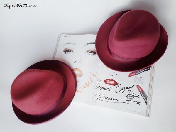 Розовая шляпа федора женская
