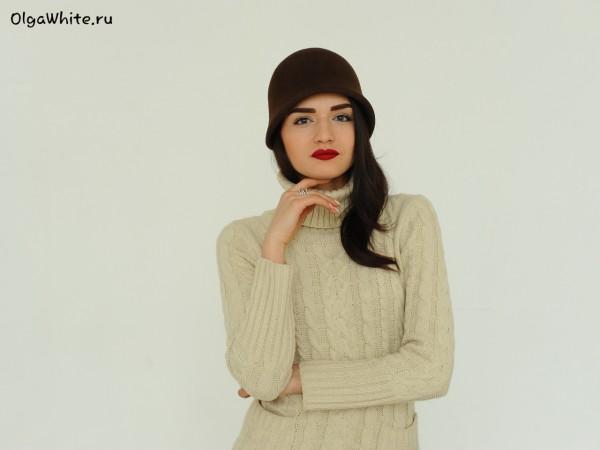Шляпа клош в стиле Гетсби 20х коричневая шляпа купить