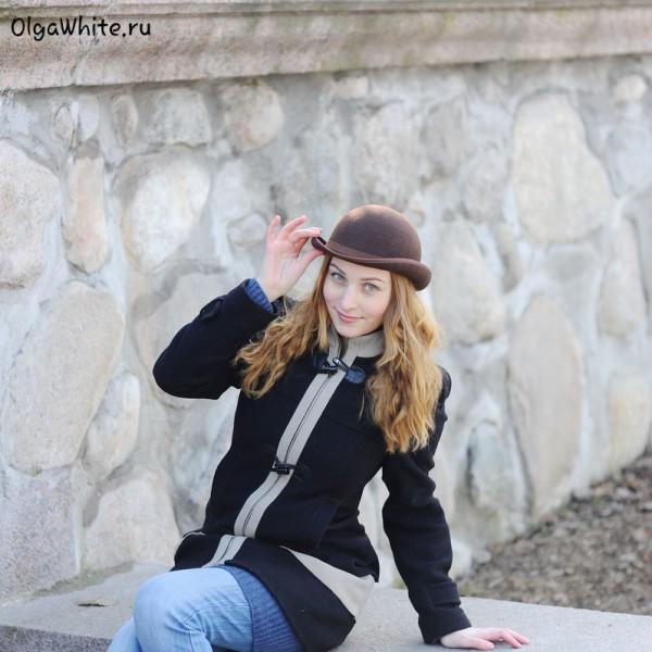 Шляпа котелок женская коричневая купить Спб