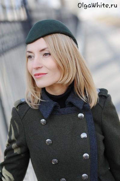 Шляпка пилотка цвет хаки женская Купить зеленую модную пилотку