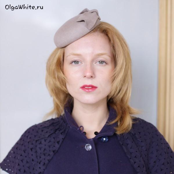 Шляпка таблетка бежевая Купить фетровую шляпку