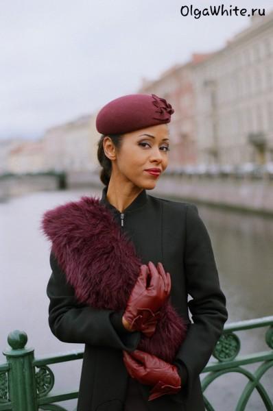Шляпка Жаклин Кеннеди Купить бордовую фетровую шляпу в стиле Жаклин Кеннеди