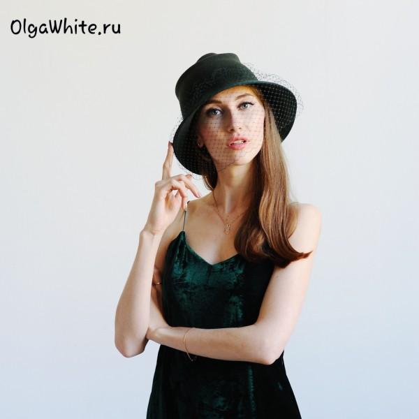 шляпа_фетровая_зеленая_купить_женская