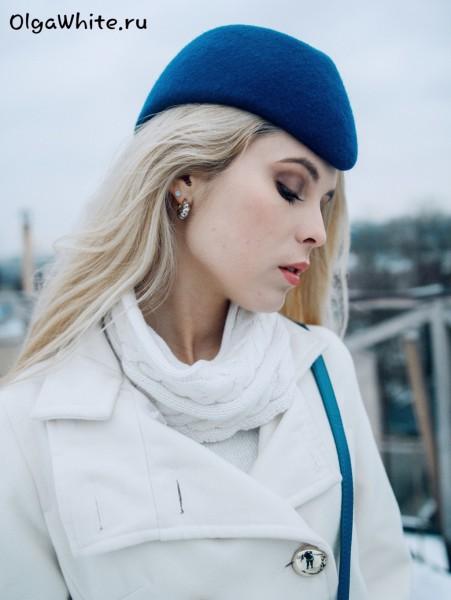 Синяя фетровая шляпа пилотка модная купить