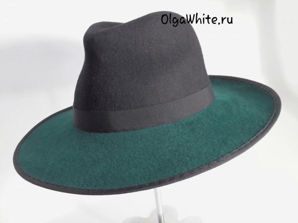 Зеленая широкополая шляпа фетровая купить