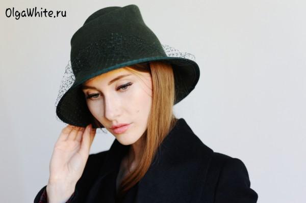 Зеленая фетровая шляпа с полями купить шляпку