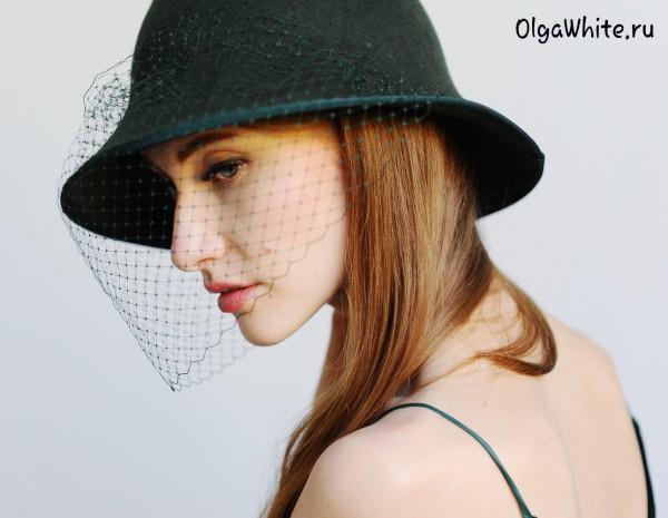 Зеленая фетровая женская шляпка купить с вуалью шляпа
