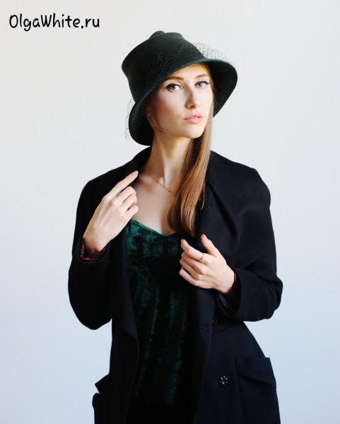 Зеленая_фетровая_женская_шляпка_купить_с_вуалью_шляпа