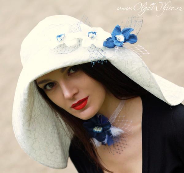 Свадебная белая шляпа с опущенными полями