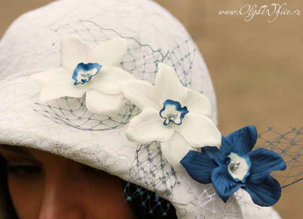 Цветы на свадебную широкополую шляпу