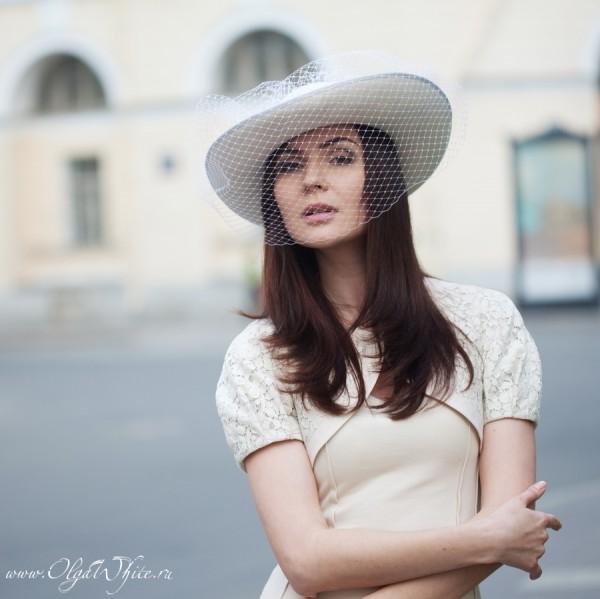 Свадебная широкополая шляпа с вуалью для невесты