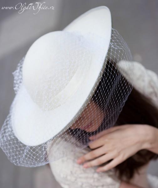 Белая свадебная широкополая шляпа с вуалью