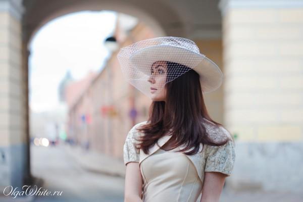 Свадебная белая широкополая шляпа с вуалью