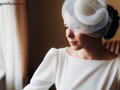 Свадебная шляпка с вуалью купить в Спб. Шляпка-таблетка цвета айвори